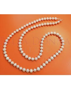 White Pearl Mala Necklace