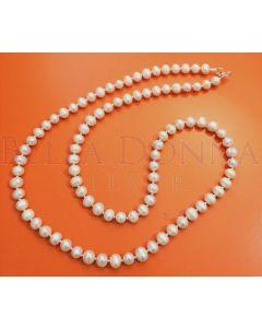 White Pearl Mala Necklace