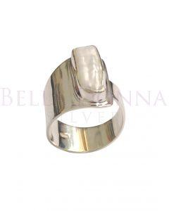 Silver & Biwa Pearl Adj Ring