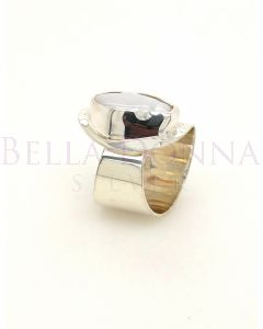 Silver & White Coin Pearl Ring