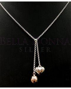Silver Heart & RG Ball Necklac
