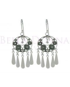 Silver Bohemian Oval Earrings