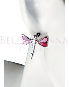 Silver & Pink MOP Dragonfly St